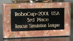 Third place prize, RoboCup'2001 International Robotic Soccer and Rescue competition and symposium, for our agent teams for RoboCup Rescue.