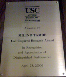 2009 USC Viterbi Use-Inspired Research Award In recognition and appreciation of Distinguished Performance 2009