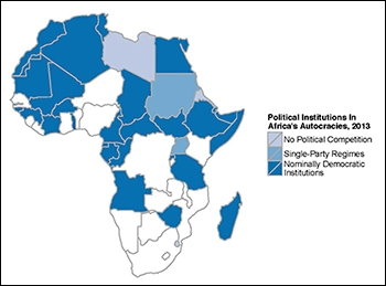 Map of Africa's political institutions in 2013