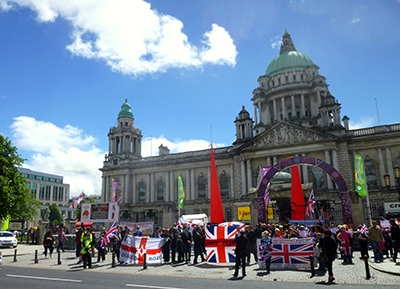 A protest in front of Belfast City Hall.