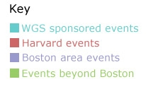 Key to event locations: red = at Harvard, purple = in the Boston area, green = outside of Boston
