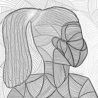 black and white outline of Untitled Self Portrait - De Nichols