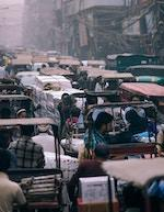 Busy street in India