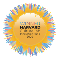 "Image of Harvard Culture Innovation Lab rewards badge with the text ""WINNER Harvard Culture Lab Innovation Lab 2020"""
