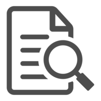 Case study icon image of a document with a magnifying glass