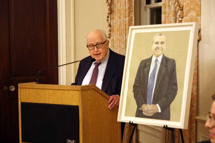 Henry Rosovsky speaking at the memorial held for Ira Kukin on September 12, 2017.