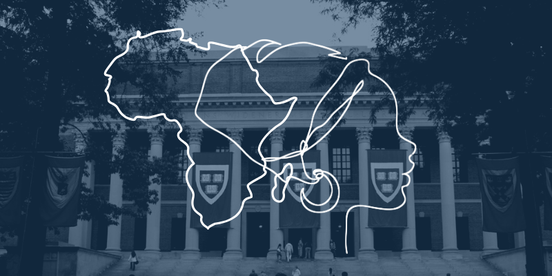 Woman and Africa Profile Line Art with Harvard Widener Library Background.