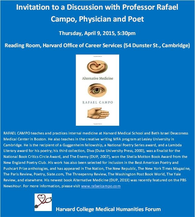 poster for Discussion with Prof. Rafael Campo, physician and poet