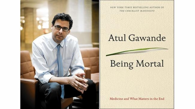 Photo of Atul Gawande and the cover of his book, Being Mortal