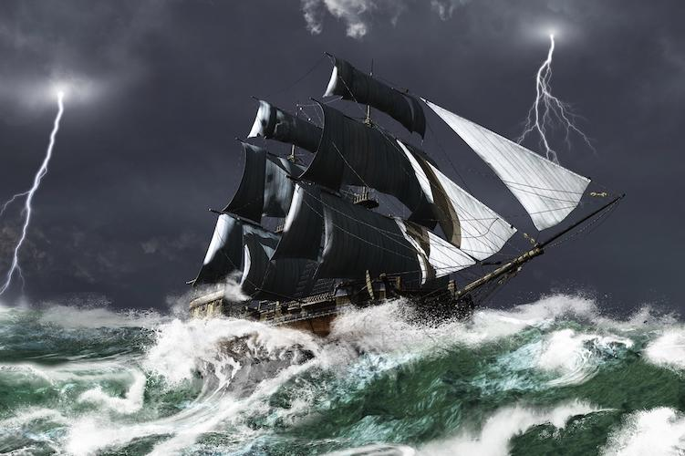 Large ship with white masts on stormy ocean with lightning