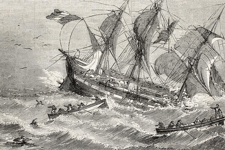 black and white sketch of a ship sailing on stormy seas