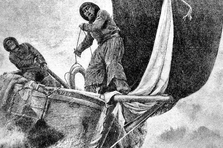 black and white sketch of two men on a boat
