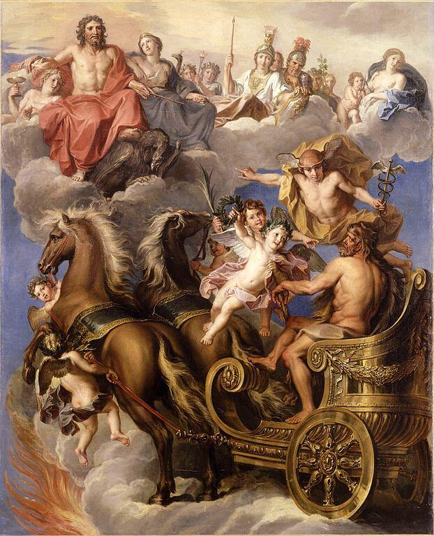 The painting depicts Herakles emerging from the flames of his funeral pyre and ascending in a chariot to join the Olympian Gods in the clouds.