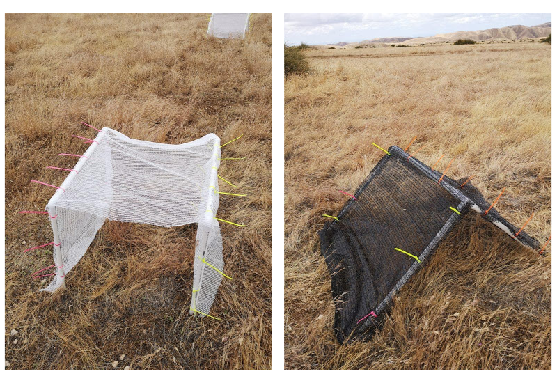 The image on the left shows a small, white triangular shelter on a brown, grassy field, while the right image shows the same but the shelter is black