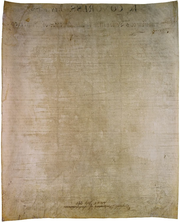 Back of the Declaration of Independence