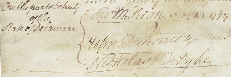 John Dickinson's Signatures on the Articles of Confederation