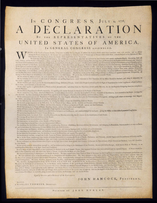 Dunlap Broadside on Vellum, APS Library