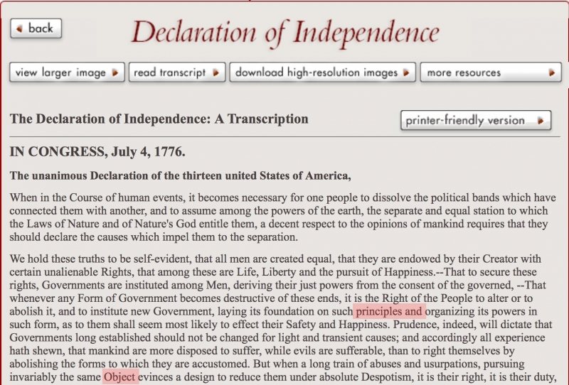 photograph relating to Printable Declaration of Independence Text referred to as Unsullied as a result of Falsehood: Exact same Facsimiles of the Declaration