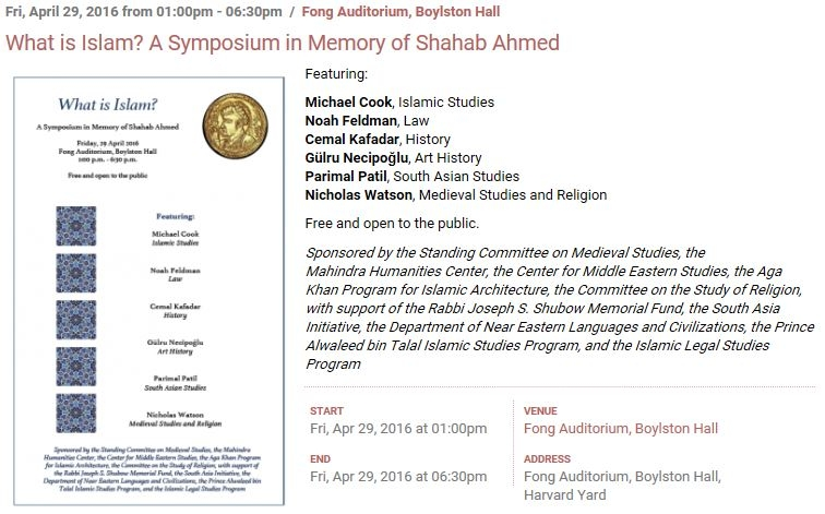 What is Islam? A Symposium in Memory of Shahab Ahmed