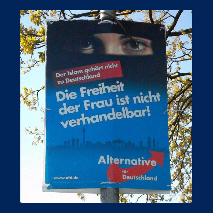 Image of an AfD ad with a woman in a burka