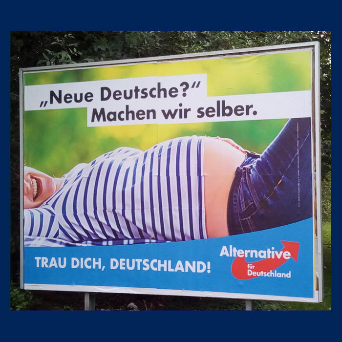 Image of an AfD ad of a pregnant woman
