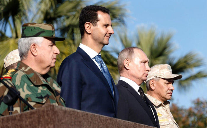 Image of Putin, Assad, and others