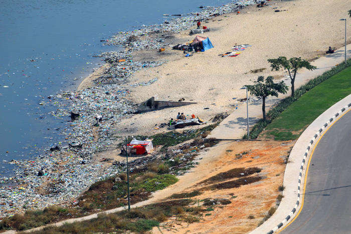 Image of a polluted riverway in Angola
