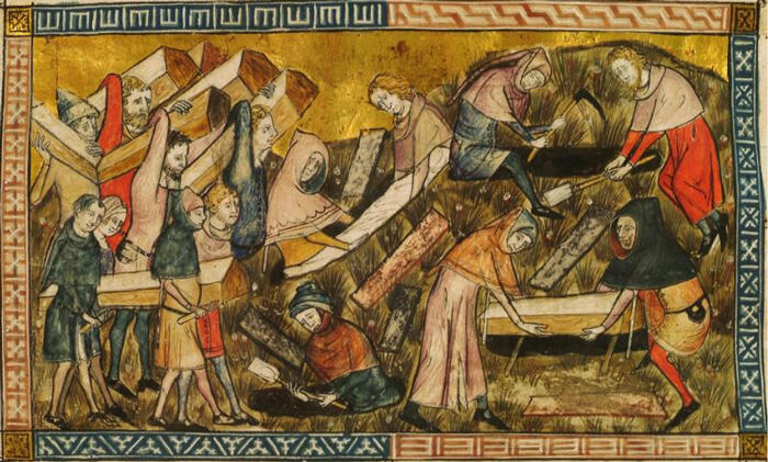Painting of people of Tournai burying victims of the Black Death, circa 1353