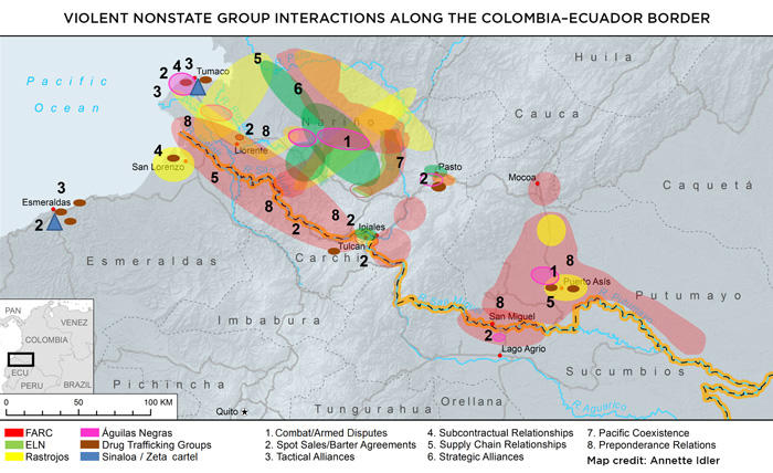 Map of violent nonstate group interactions along the Colombia–Ecuador border