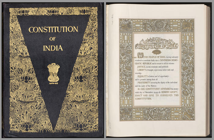 Cover image and opening preamble of Indian Constitution