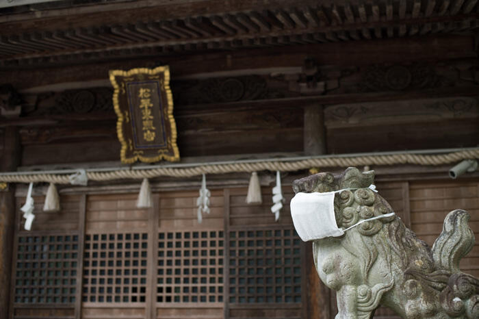 Matsudaira Toshogu shrine, with a mask on it, in Okazaki city, Aichi prefecture.
