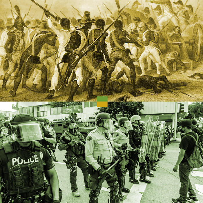 Collage of two images, top image an illustration of Haitian Revolution and bottom image George Floyd protests