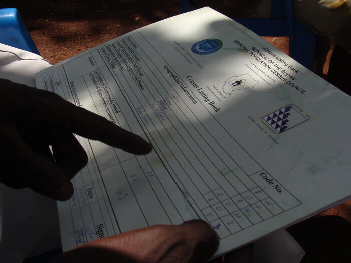 Census listing book in Sudan