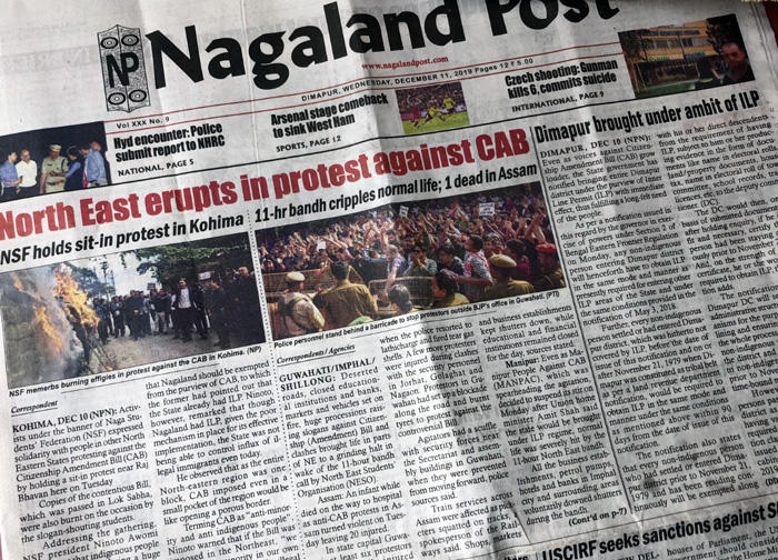 Image of the front page of the Nagaland Post on 12-11-2019
