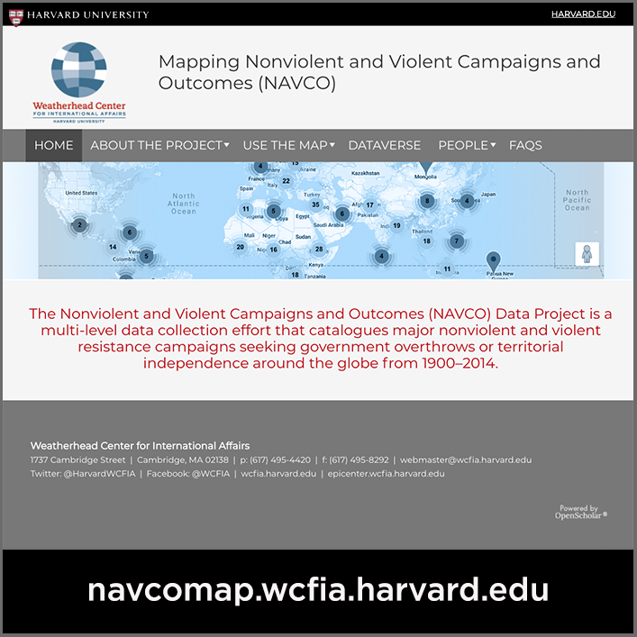 Screenshot of the NAVCO map website