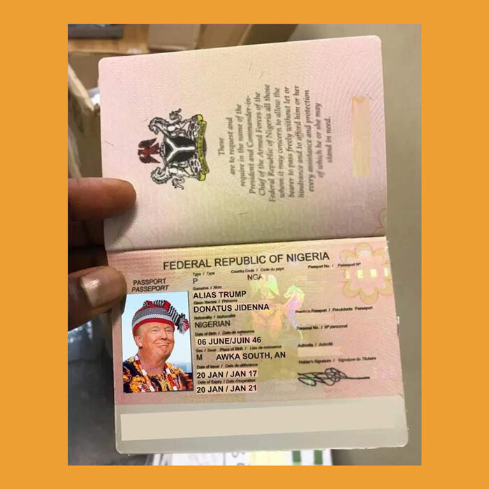 Meme of Donald Trump on Nigerian passport
