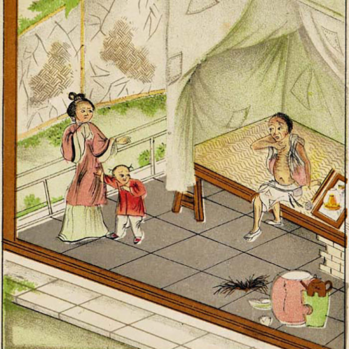 Drawing of woman and child turning away from opium smoker