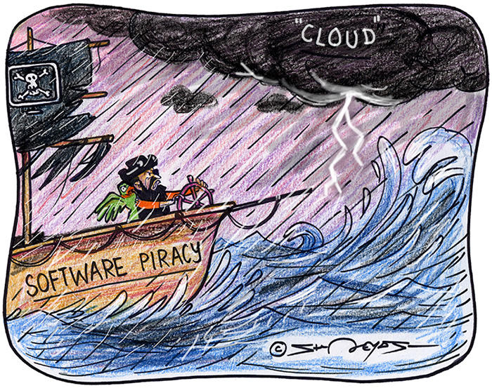 Cartoon of pirate ship in a storm
