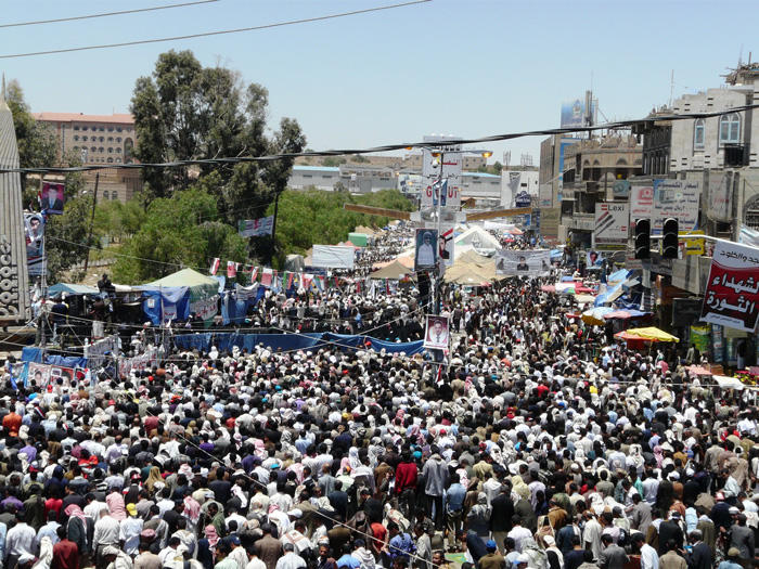 Image of Yemeni protest crowd in 2011