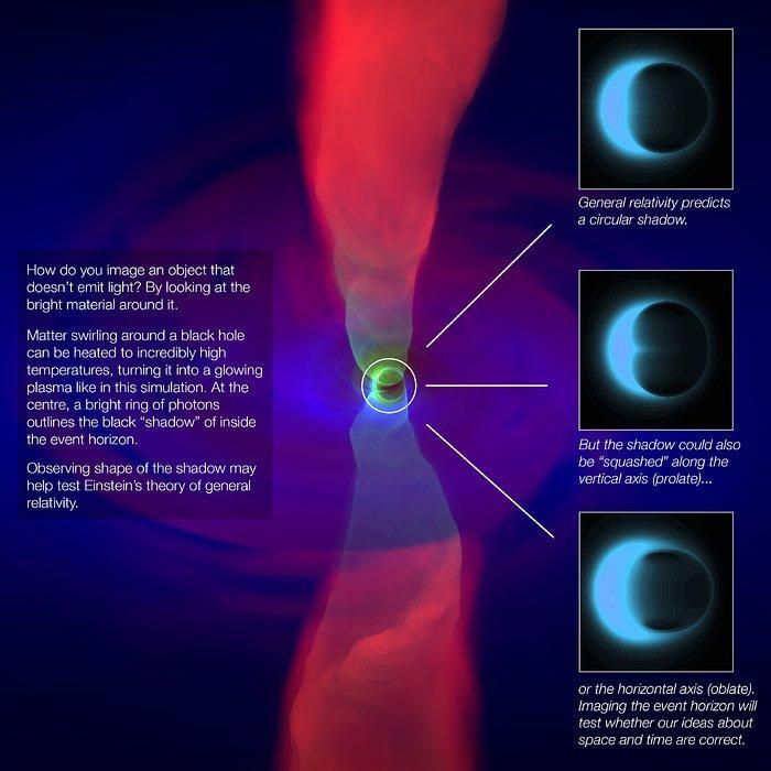 Graphic showing a black hole simulation and possible outcomes for an image of a black hole's event horizon silhouette