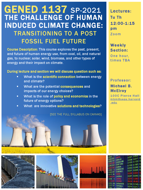 Course poster for Gen Ed 1137 that includes brief description of course and images related to energy and the environment