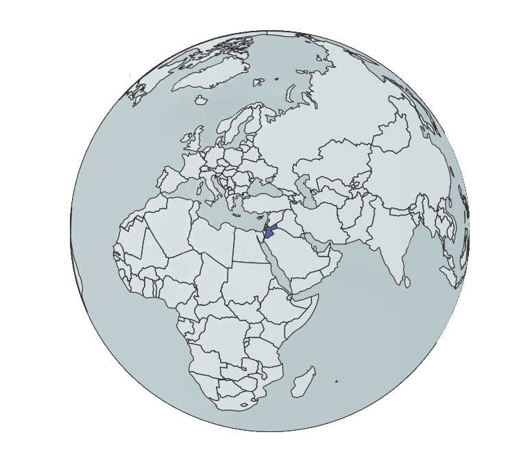 Blue globe with Jordan highlighted in darker blue