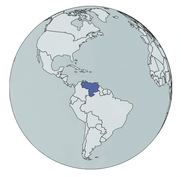 blue globe with Venezuela highlighted