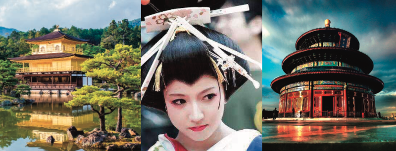 Three images, two showing architectural structures from Japan and China, and one of a woman wearing geisha makeup and hairstyle