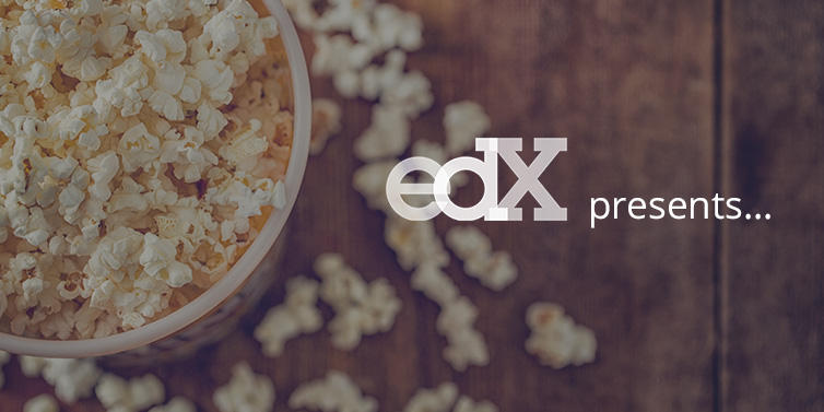 "Carton of popcorn with words ""Edx presents"""