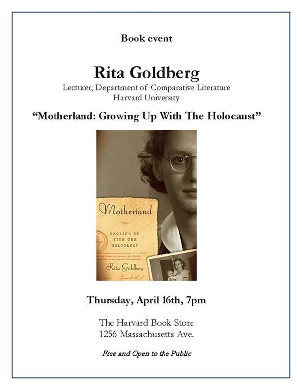 Book talk by Rita Goldberg at Harvard Book Store