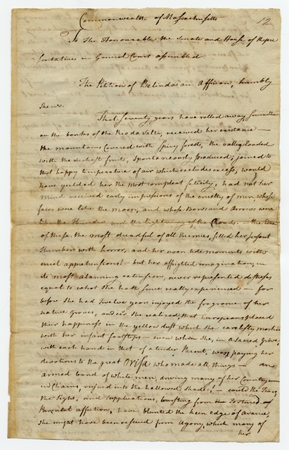 First page of handwritten petition of Belinda [Sutton]