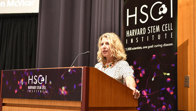 Beth Stevens speaking at an HSCI podium