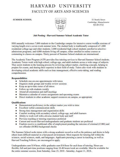 Academic Tutor | Opportunities | Harvard Summer School