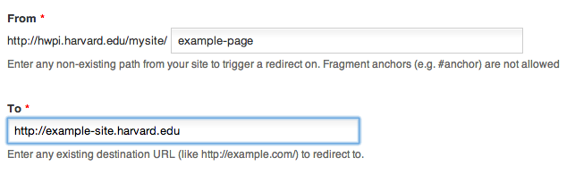Site Settings Redirect Example